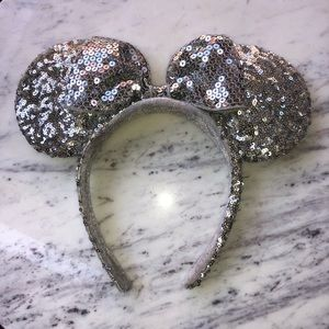 Authentic Disney Parks Silver Minnie Ears Headband